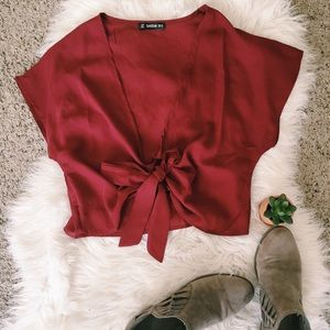 """Crop It Like It's Hot"" maroon shirt from SHEIN"